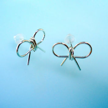 Bow Earring Studs Bow Earrings Silver Bows by heartfeltwiredesigns