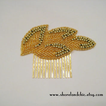 The Daphne (hair comb) - gold leaf hair comb, gold wedding comb, gold leaves bridal comb, Grecian hair comb, outdoor wedding accessories