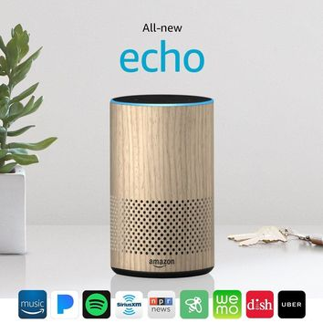 All-new Echo (2nd Generation) with improved sound, powered by Dolby, and a new design – Oak Finish