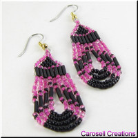 Native American Style Beadwork Seed Bead Earrings Loop De Loop in Pink and Black
