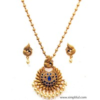 Peacock Gold Matte finish Pendant Necklace and Earring set