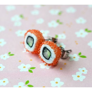California Roll Maki Sushi Post Earrings, Polymer Clay Miniature Food Jewelry