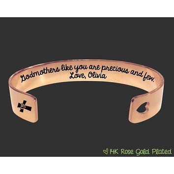 Rose Gold Godmothers Like You Are Precious and Few Bracelet | Godmother Gift