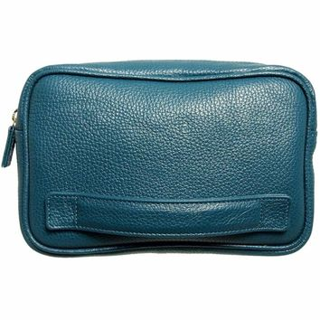 Grained Leather Dopp Kit Teal