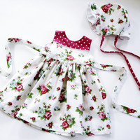 18 month dress with matching bonnet sunday best floral sundress summer dress pink dress rose floral sun bonnet 18 month outfit for baby girl