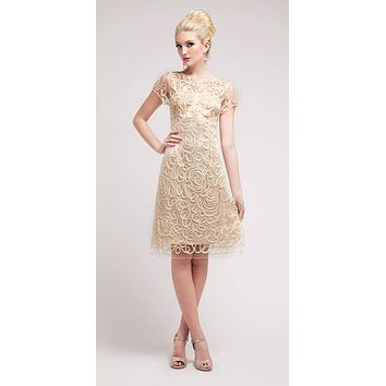 Semi Formal Knee Length Lace Cream Dress Short Sleeve