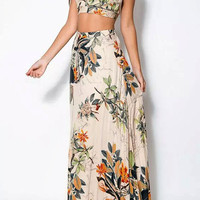 2Pcs Floral Spaghetti Strap Cropped Top Maxi Skirt Sets
