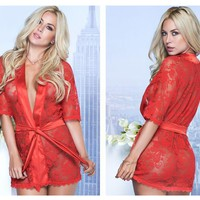 Mapale 7115 Lace Robe Color Red