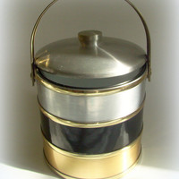 Vintage 70's Barware Shelton Ice Bucket Gold, Silver and Black
