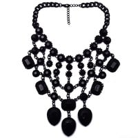 Europe Statement Chunky Crystal Choker Bib Pendant Necklace Punk Rocker Chic Goth