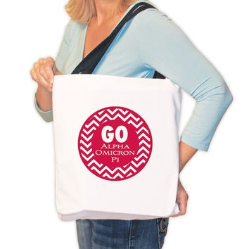 "Alpha Omicron Pi Canvas Tote Bag "" Go Alpha Omicron Pi Chevron Stripe"