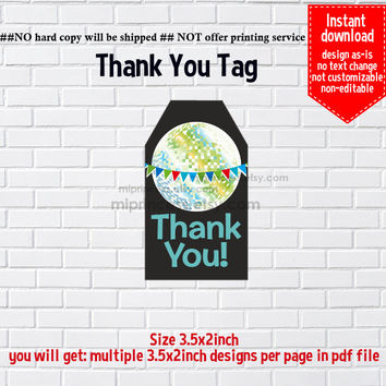 Instant Download, glitter, #482 disco ball, thank you tag, thank you gift , elegant TAG, 3.5x2inch printable , non-editable NOT CUSTOMIZABLE