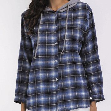 TangJie Casual Plaid Button Fly Women Hooded Shirts