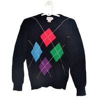 Womens Vintage Wool Sweater Lambswool Angora Geometric Diamond Pullover Small Medium S M