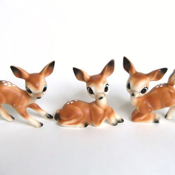 Ceramic Deer Figurines, Fawn Figurines, Christmas Deer Figures, Deer Herd Family, Deer Statues, Nursery Decor, Vintage Deer Decorations