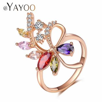 AYAYOO Africa Women Wedding Fashion Rings Set Jewelry Gold Color Cubic Zirconia Mixcolor Leaves Trendy Party Accessories