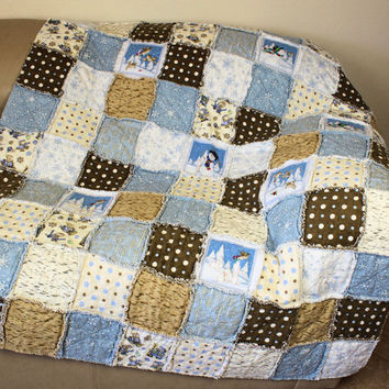 Flannel Rag Dorm Quilt, Graduation Gift, Lap or Couch Quilt