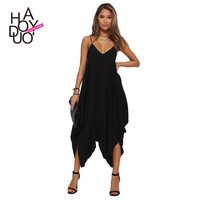 European sexy v-neck jumpsuit loose draped romper adjustable women jumpsuits