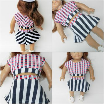 18 inch girl doll clothes, Red, White, and Blue, Skirt 2 pc outfit- hat is not included.