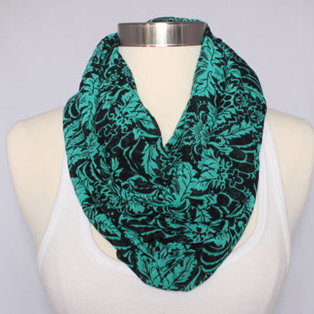 Lightweight Infinity Scarf - Teal and Black Floral