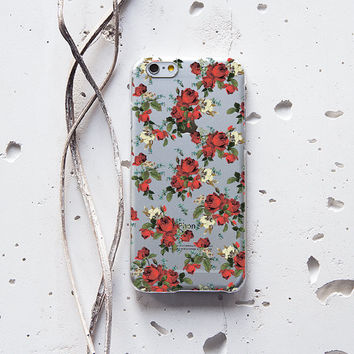 Floral Pattern Red Roses Flowers Clear  Ultra thin Protective Case Cover for iPhone 6 6s 6s Plus Samsung Galaxy S5 S6 Note 009