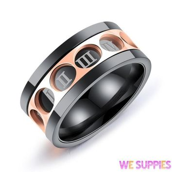 Spinner Rome Number Gold Black Stripe 316L Stainless Steel Wedding Rings For Men Fashion Silver Color Male Party Ring