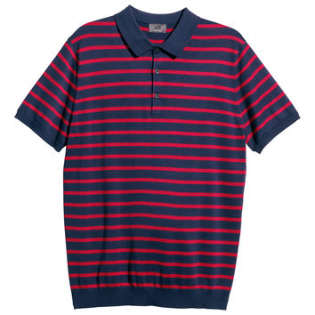 H&M - Silk-blend Polo Shirt - Red/striped - Men