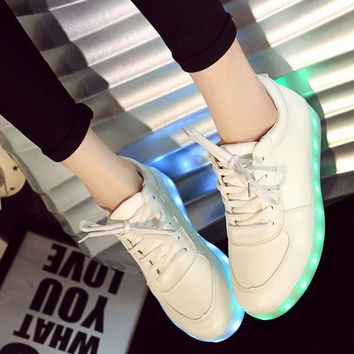Chic  Athletic Shoes With Tie Up and Lights Up Led Luminous Design