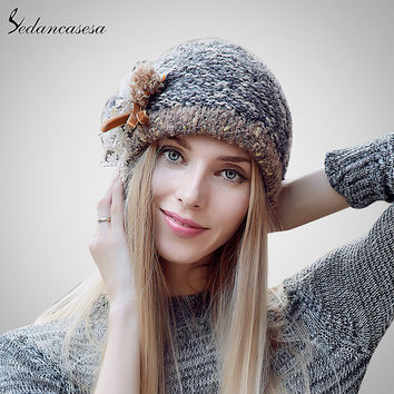 Sedancasesa New Autumn And Winter Female Bucket Hat Hot Selling The Knitting Ball Cap Hat Casual Outdoor Cap For Women AA140005B