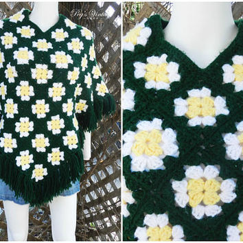 Flower Granny Square Women's Poncho, Green, White, & Yellow Crochet Fringe Poncho, Vintage Hippy Cape Knit Poncho, Wool Shawl