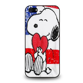 SNOOPY HEARTS AMERICA GIRLS PEANUTS iPhone 5 / 5S / SE Case