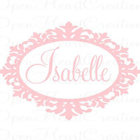 Elegant Baby Girl Name Wall Decal - Ornate Oval Frame Border with Monogram Vinyl Lettering Ex Large 28H x 42W FN0282