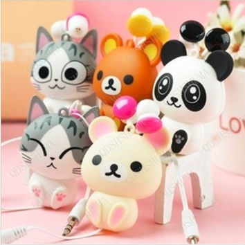 Cute Cat Cartoon Automatic Retractable Earphones for Mobile Phone Computer Special Gift = 1741686788