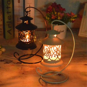 Hollow Roses Silhouette Tealight Candle Holder Lantern Iron Candlestick Wedding Home Decor