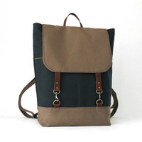 Unisex navy and chocobrown canvas Backpack laptop by BagyBags