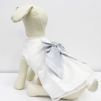 White Dog Dress, Silver Bow, Dog Birthday gift, Pet wedding accessory