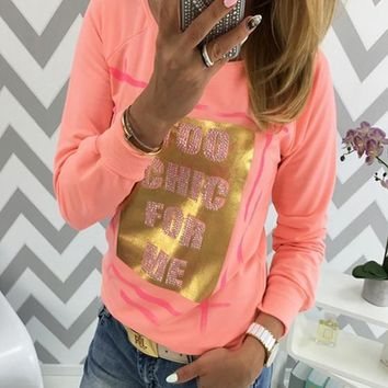 Orange Monogram Round Neck Long Sleeve Fashion T-Shirt