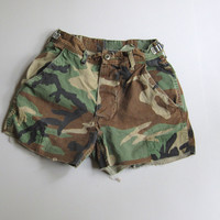"""Vintage Camo Cut Off Shorts Boyfriend Camouflage Military Small 25"""" 24"""" 23"""""""