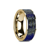 Blue Lapis Lazuli 14K Yellow Gold Ring, Flat, Polished Edges
