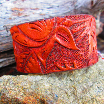 Vintage Leather Cuff, Upcycled Cuff, Concho Cuff, Vintage Saddle Leather, Leather Cuff, Western Bracelet, Western Cuff,