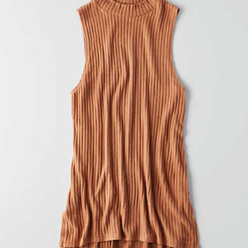AEO Soft & Sexy Ribbed Mock Neck Tank , Brown