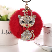 Rabbit Fur Ball Plush Key chain Pendant for Bag Charm
