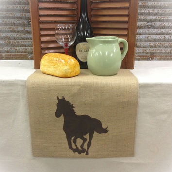 "Burlap Table Runner 12"", 14"" or 15"" wide with a Horse on each end"
