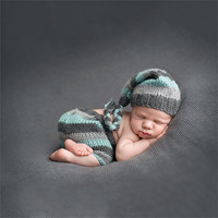 New Design Baby Newborn Pography Props Handmade Knit Crochet Costume Striped Hat And Pants For 0 to 6 Months Girl Boy