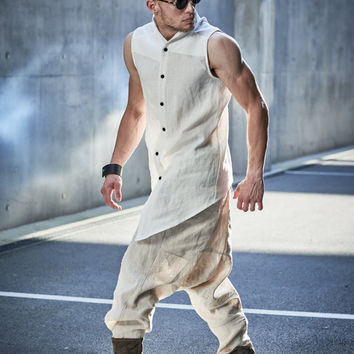 Mens Sleeveless Button Down Vest Shirt / Off-White Asymmetrical Shirt / Upright Collar Vest / Mens Modern High-Low Design Top by Powha
