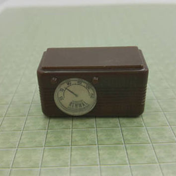 Renwal Radio Toy Dollhouse Traditional Style brown  mid century modern