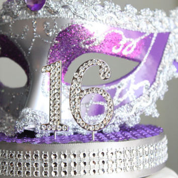 Masquerade Purple and Silver Sweet 16 cake topper