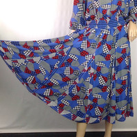 Vintage 80s Diane Freis Dress Mixed Graphic Print Gypsy Dress Full Poet Sleeves Poly Georgette Houndstooth Grunge Print  38 / 22-30 S M