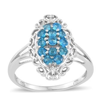 Neon Apatite Platinum Over Sterling Silver Ring