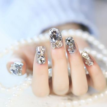 Sparkly Glitter Nail Art Decoration Tips 3d Crystal Bowknot Medium Artficial Fake Nails for Wedding Makeup Accessories Z770